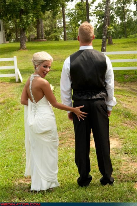 bride butt grabbing Crazy Brides funny wedding photos grabbypants groom groom ass grab groom butt grab hunk of burning love surprise were-in-love