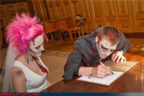 Crazy Brides crazy groom disconnected souls fashion is my passion marriage license pink hair russia signing the papers undead undying love were-in-love Wedding Themes zombie wedding zombie
