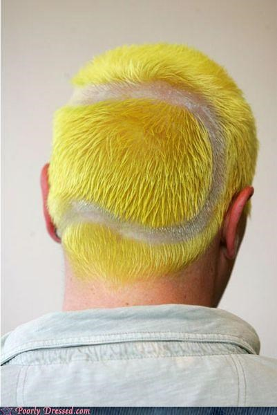 shaved into a shape yellow hair