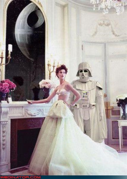 bride in bra,confusing,Crazy Brides,crazy groom,darth vader,Darth Vader At Home,Darth Vader photo shoot,Darth Vader Wedding Attire,Darth Vader white armor,fashion is my passion,Modern Bride,photo spread,surprise,topless,topless bride,were-in-love,Wedding Themes,wtf