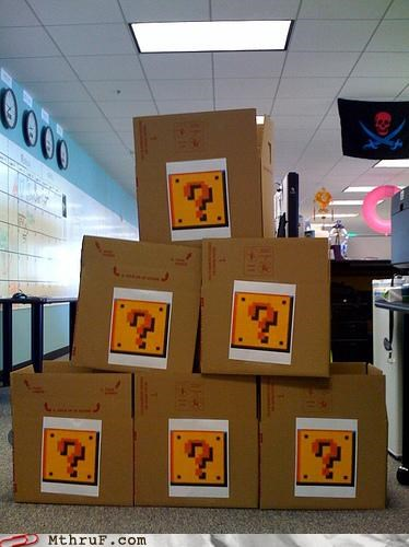 boredom boxes cardboard creativity in the workplace cubicle boredom decoration fire flower koopa mario mario brothers mess mushroom nerd Nerd Alert nintendo question marks sculpture shell stack stacked star stomp video game wiseass