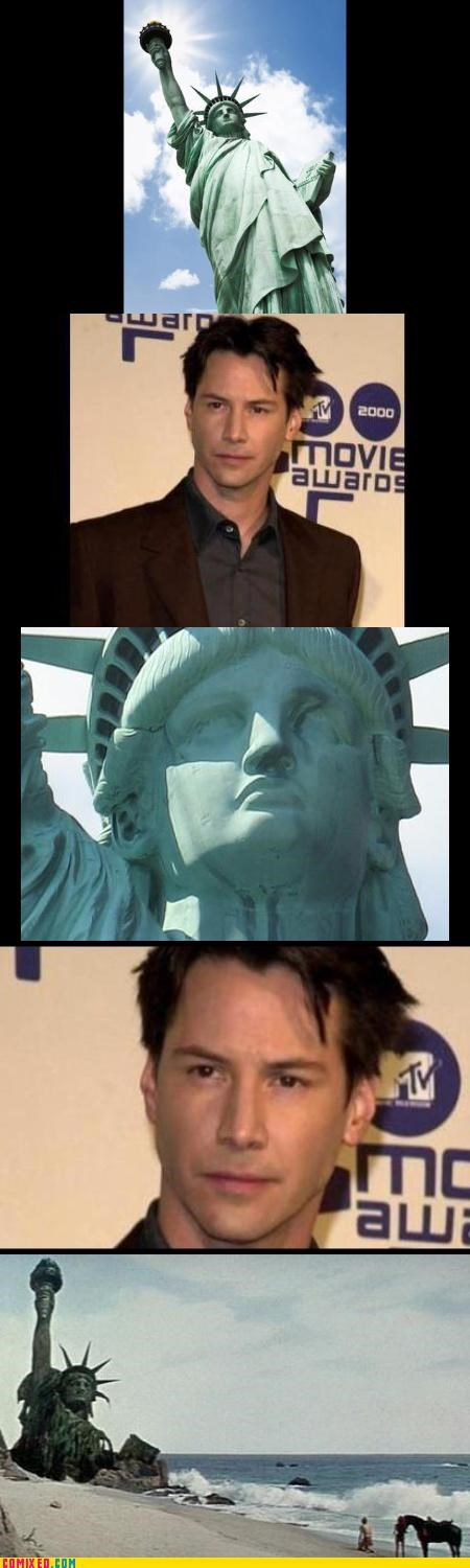 celebutard,From the Movies,keanu reeves,nothing lasts forever,Planet of the Apes,Statue of Liberty,usa