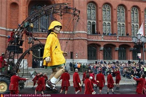 art,marionette,monster,parade,puppets,rain coat,wtf