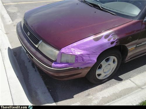 car decal duct tape flames mod