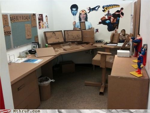 awesome,boredom,cardboard,creativity in the workplace,cubicle,cubicle boredom,cubicle prank,decoration,dickhead co-workers,dorky,effort,ergonomics,impressive,ingenuity,meticulous,prank,pun,pwned,screw you,sculpture,swap,switcheroo,wasted time,wasteful,wiseass,wrapping