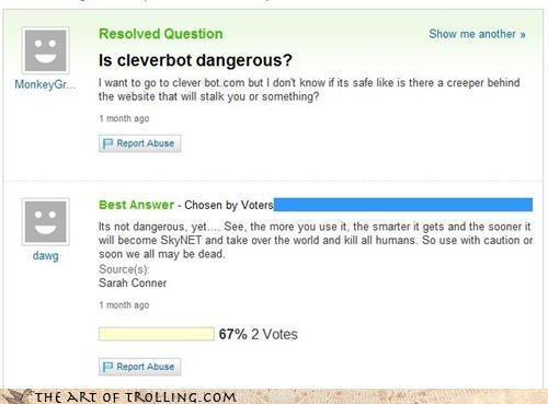 Cleverbot,sarah connor,skynet,Yahoo Answer Fails