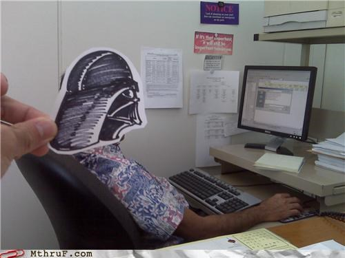 alderaan,boredom,character,creativity in the workplace,cubicle boredom,cubicle prank,darth,darth vader,decoration,derp,desk,disguise,doodle,drawing,hawaiian shirt,joke,loud shirt,mask,Movie,prank,shirt,slouch,sneaky,star wars,tacky,vader,wiseass