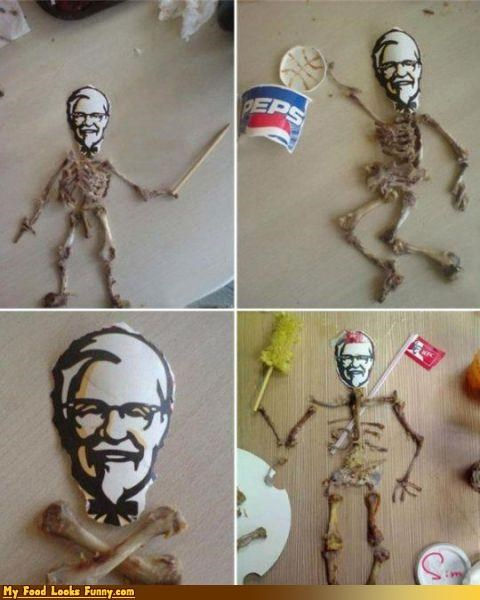 bones,chicken,Colonel,colonel sanders,fast food,Kentucky Fried Chicken,kfc,meat