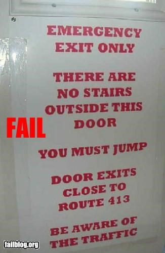 emergency,exit,failboat,g rated,jump,stairs