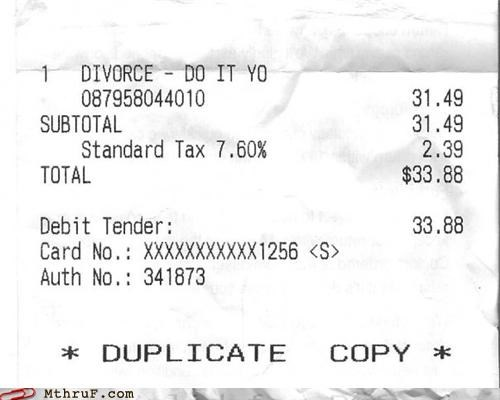 abbreviated buy 1 get 2 for the price of 1 cheap customer copy depressing divorce DIY do it yourself dumb funny receipt law legal marriage receipt receipt fail receipt lol Sad sale truncated - 3705331712