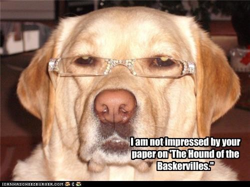 essay,glasses,hound of the baskervilles,not impressed