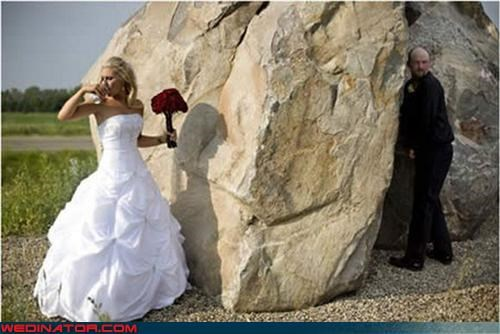bride,bride and groom have a laugh,decorative boulder,eww,funny wedding photos,groom,groom peeing,hot bride,surprise,technical difficulties,two become one,weird wedding picture,wtf,wtf is this