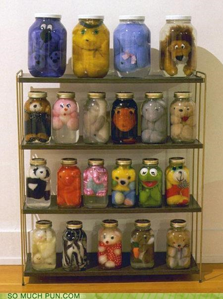 creepy,jars,preserve,puns,stuffed animals