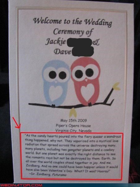 awesome wedding program,bride,cute wedding program,funny wedding photos,funny wedding program,Futurama quote Zoidberg,Futurama themed wedding program,groom,sweet wedding ceremony program,were-in-love,Wedding Themes