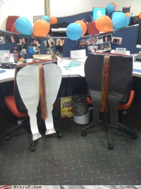 asses awesome co-workers not Balloons balloons are awful boredom cardboard cardboard cutouts chairs clever coco pops creativity in the workplace cubicle boredom cubicle prank cutout decoration dis horse tails horses-asses idiom insult metaphor modification modified passive aggressive please just stop prank raw Sad sass sculpture sexual harassment slang symbolic symbolism tails wiseass - 3710829056