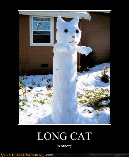 long cat,snowy,snowman