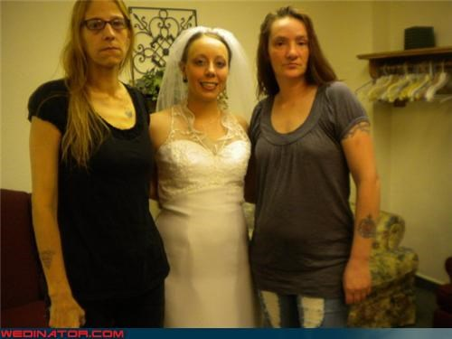 bride,disapproval,fashion is my passion,funny wedding photos,looking miserable,unhappy family wedding picture,wedding party,white trash wedding,yikes
