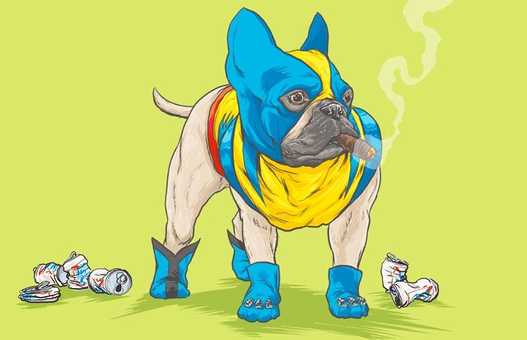superheroes turned to dog in illustrations