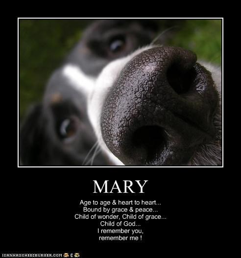 MARY Age to age & heart to heart... Bound by grace & peace... Child of wonder, Child of grace... Child of God... I remember you, remember me !