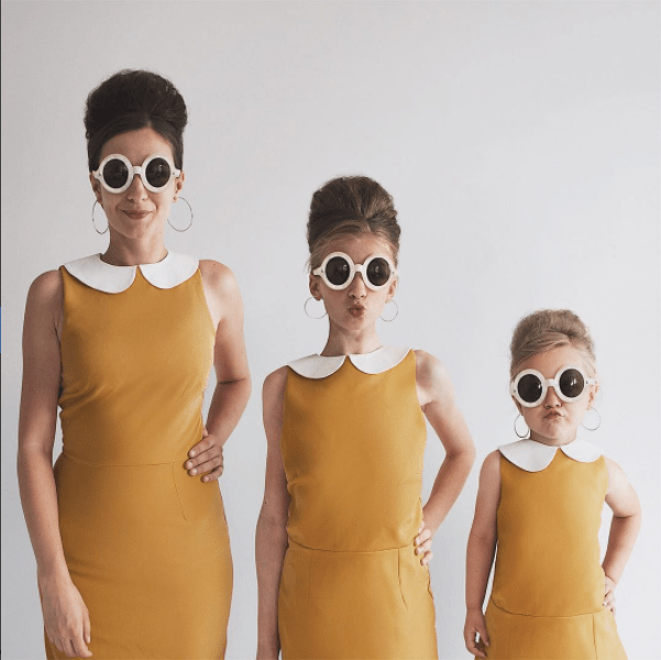 photos of mom and two daughters in matching clothes