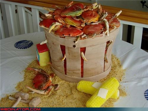 amazing wedding cake,beach wedding,crab cake,Dreamcake,fondant,Old Bay,Sheer Awesomeness,surprise,themed wedding cake,Wedding Themes