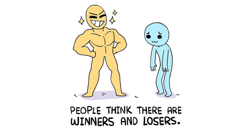 Wholesome web comic from Owl Turd Comix called Super Losers, about winning, losing and comparing yourself to others.