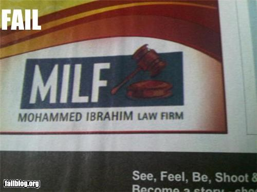 acronym,bad idea,failboat,law firm,milf