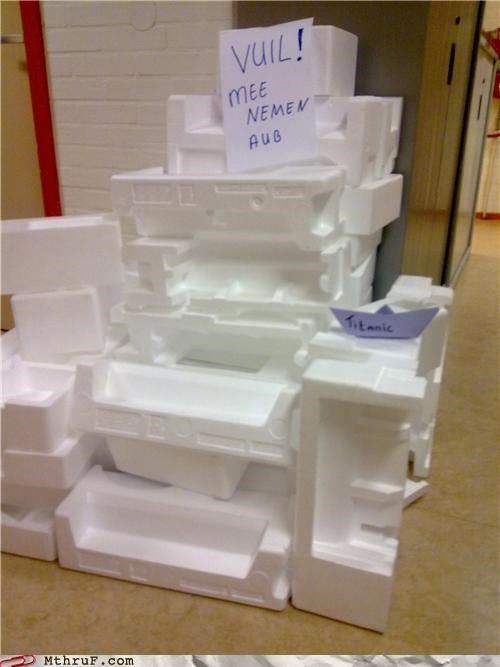 art arts and crafts boredom corny creativity in the workplace cubicle boredom decoration dorky german iceberg mess old movie outdated recycle recycling reenactment sculpture styrofoam titanic tragic arts and crafts wiseass