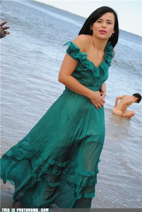 Awkward beach dress model nekkid ocean - 3718990080