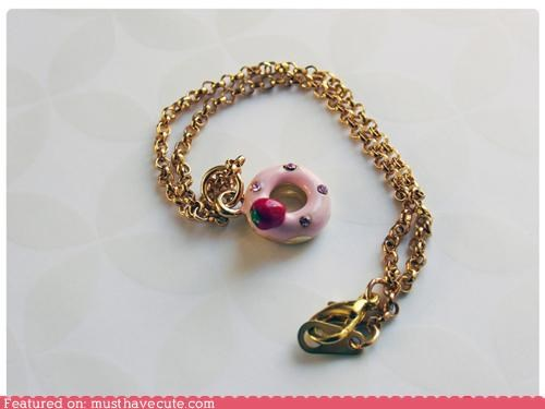accessory chain donut gold Jewelry necklace pendant shiny strawberry - 3719436544