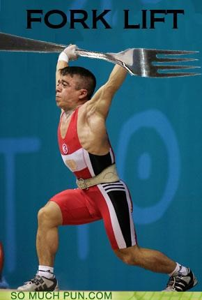 athletes food forks lifting puns sports - 3720183552