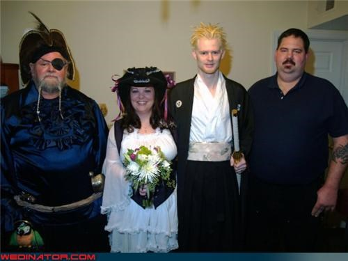 costumed wedding party,Crazy Brides,crazy groom,fashion is my passion,funny wedding photos,halloween,Pirate,samurai groom,surprise,themed wedding,were-in-love,Wedding Dress Costume,wedding party,Wedding Themes