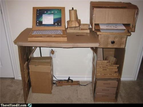 cardboard computer desk Office overkill recycling-is-good-right - 3723532544