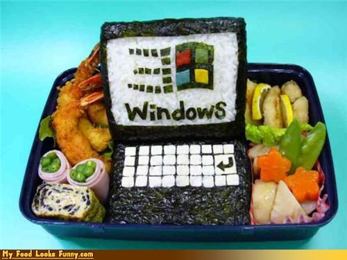 bento bill-gatess-lunch box computer lunch seaweed shrimp windows