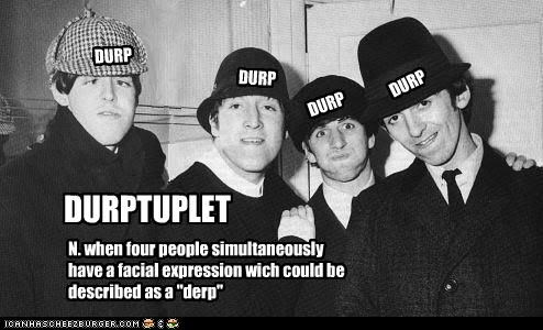 bands derp expression george harrison john lennon paul mccartney ringo starr the Beatles - 3725373440