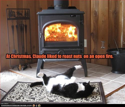At Christmas, Claude liked to roast nuts on an open fire.