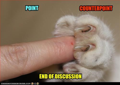 caption,captioned,cat,counterpoint,discussion,end,literalism,paw,point