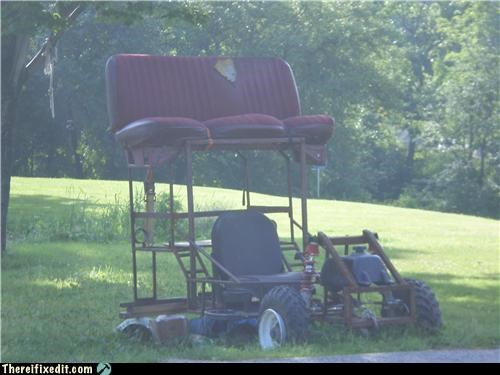 chairs cobbled together grill seating vehicle