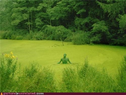 costume,grass,green guy,greens,nature,wtf