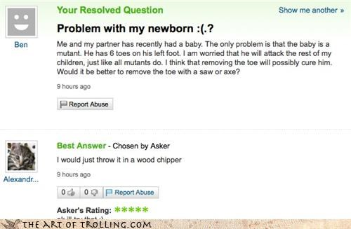 inbred newborn polydactly Yahoo Answer Fails - 3728963584