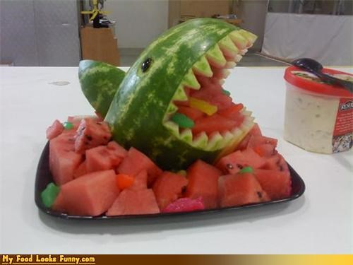 animals,carving,eat,fruits-veggies,platter,shark,watermelon