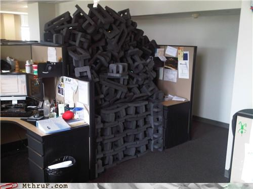 awesome co-workers not boredom clean up cubicle boredom cubicle prank cushions Dell dickhead co-workers filled foam garbage heap jerks mess messy packaging pile prank PWND recycle recycling rocked screw you sculpture trash - 3731112960