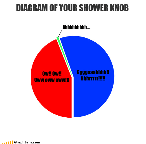 DIAGRAM OF YOUR SHOWER KNOB Ow!! Ow!! Oww oww oww!!! Ggggaaahhhh!! Bbbrrrrr!!!!! Ahhhhhhhhh....