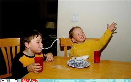derp kids laughing lunch milk out his nose - 3731662592
