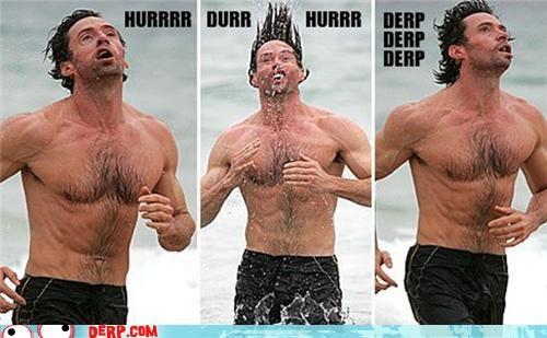 beach,celeb,derp,hugh jackman,jogging