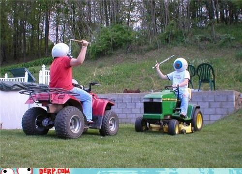 derp,eyeballs,joust,lawn mower,sport,The Residents