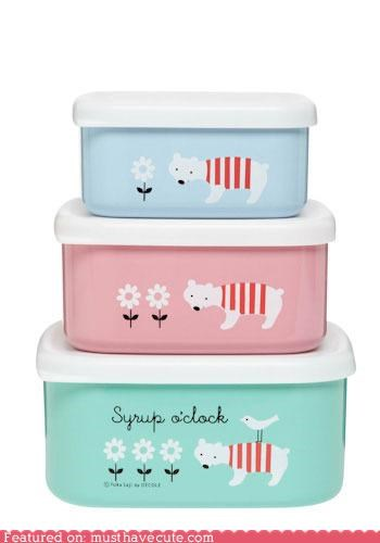 bears bento bento box box colorful food Kitchen Gadget Pastel snacks syrup o clock