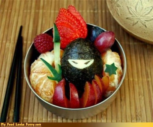 attack,cup,fruit,fruit cup,fruits-veggies,grapes,ninja,orange,snack,strawberry