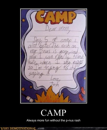 camp,mom,notes,penis,rash,Sad