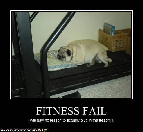 FITNESS FAIL Kyle saw no reason to actually plug in the treadmill.